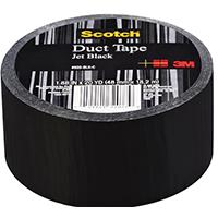 Scotch 920-BLK-C Mid-Grade Duct Tape, 20 yd L X 1.88 in W, 6.5 mm T, Cloth Backing, Black, 50 - 140 deg F