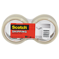 Scotch 3350-2 Lightweight Shipping Packaging Tape, 1.88 in W x 54.6 yd L x 2.2 mil T, Clear