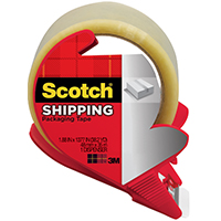 Scotch 3350S-RD Lightweight Shipping Packaging Tape With Dispenser, 1.88 in W x 54.6 yd L x 2.2 mil T, Clear