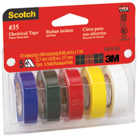 3M 10457 Assortment Colored Electrical Tape Kit, 1/2 in