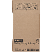 Scotch 8018FB-LRG Folded Box, 18 in L x 18 in W x 16 in H, Brown