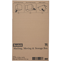 Scotch 8022FB Folded Box, 22 in L x 22 in W x 14 in H, Brown