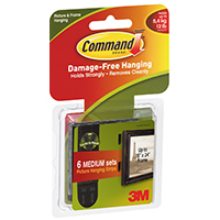 Command 17204BLK Medium Picture Hanging Strips, Foam, Black