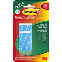 3M Command Outdoor Strip Refill, 6 Pieces, Plastic, Dark Green/Clear