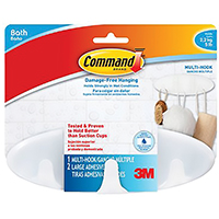Command BATH21-ES Large Size Bath Multi Hook, 5 lb, 8 in L x 2-5/8 in W, Plastic, Frosted