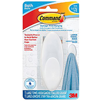 Command BATH17-ES Large Size Towel Hook, 5 lb, 4-1/2 in L x 1-5/8 in W, Plastic, Frosted
