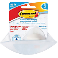 Command BATH14-ES Soap Dish With Water-Resistant Strips, Plastic, Frosted