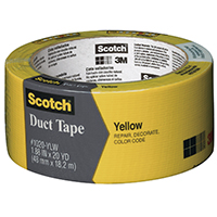 Scotch 1020-YLW-A Colored Duct Tape, 1.88 in W x 20 yd L, Yellow