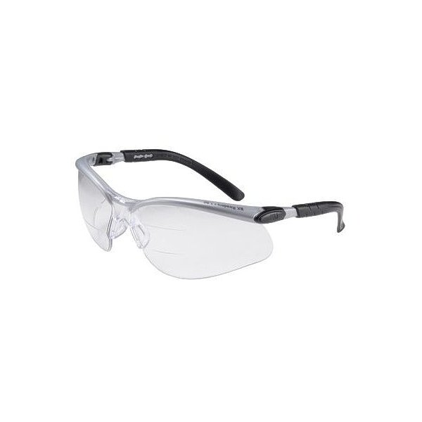 3M+ BX+ Dual Readers 1.5 Diopter Safety Glasses With Silver And Black Frame And Clear Polycarbonate Anti-Fog Lens