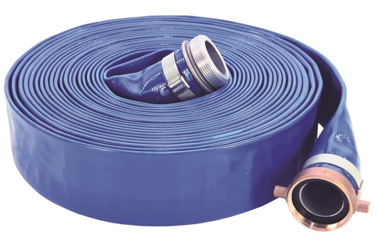 ABBOTT RUBBER 1147-1500-50 Pump Discharge Hose, 1-1/2 in x 50 ft, Threaded Male x Female Coupling, 80 psi, PVC