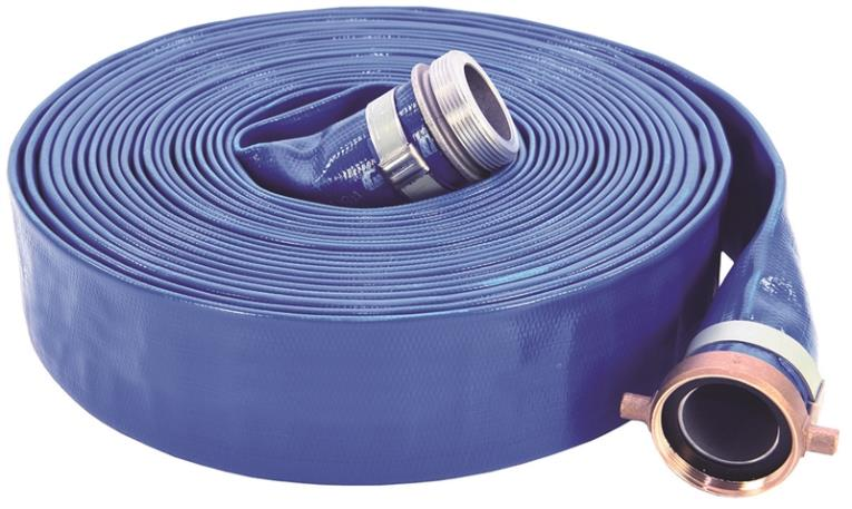 ABBOTT RUBBER 1147-2000-50 Pump Discharge Hose, 2 in x 50 ft, Threaded Male x Female Coupling, 80 psi, PVC