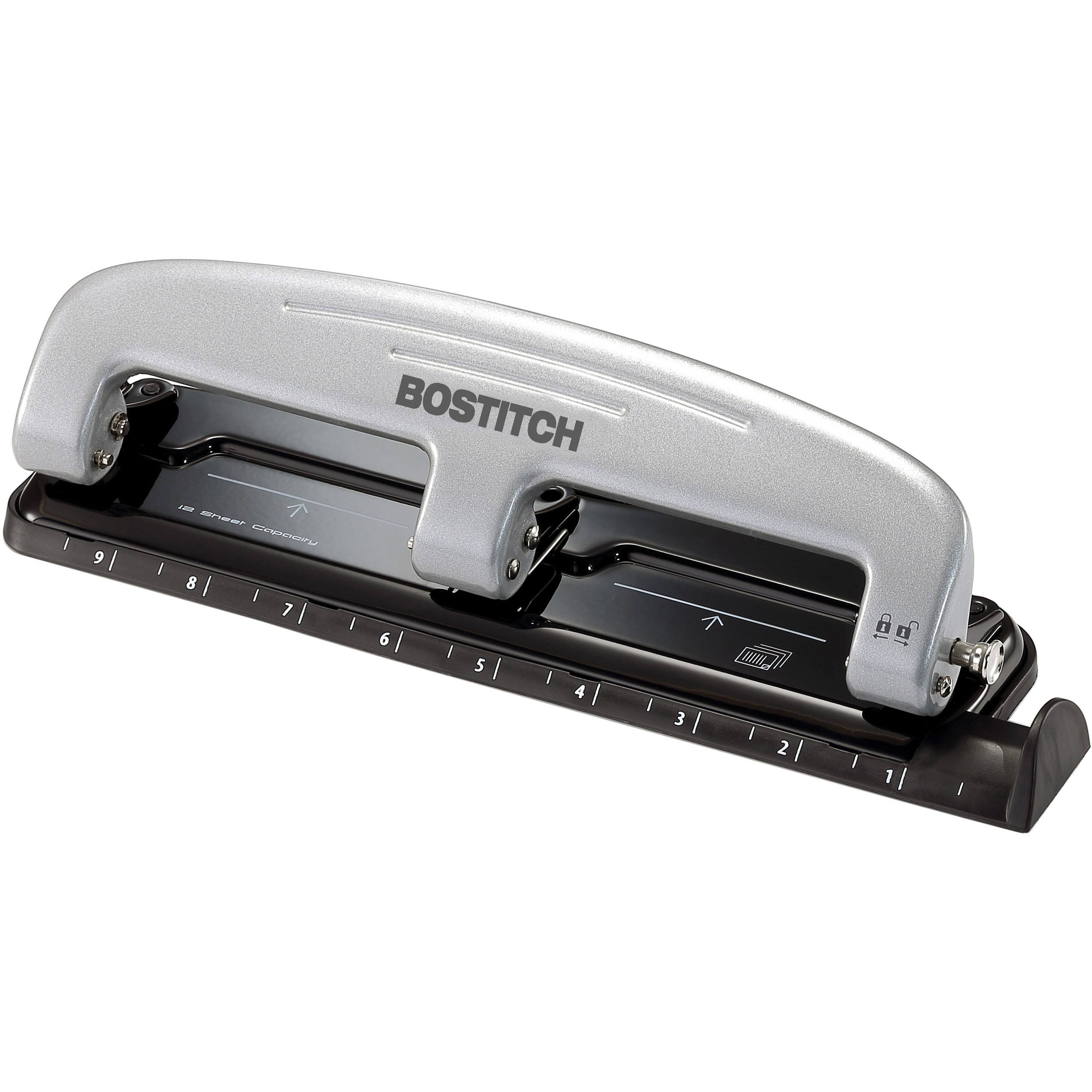 12-Sheet inPRESS 12 Three-Hole Punch, Black/Silver