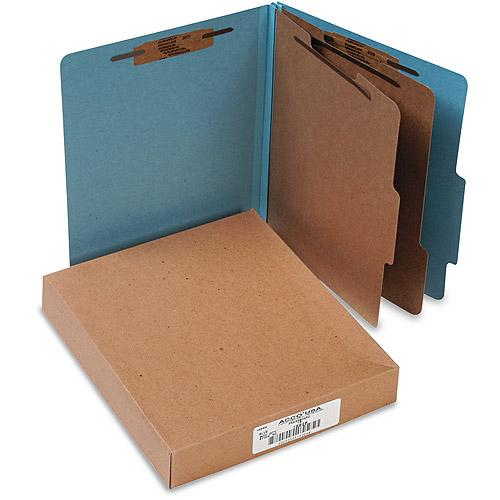 Pressboard 25-Pt Classification Folders, Letter, 6-Section, Sky Blue, 10/Box