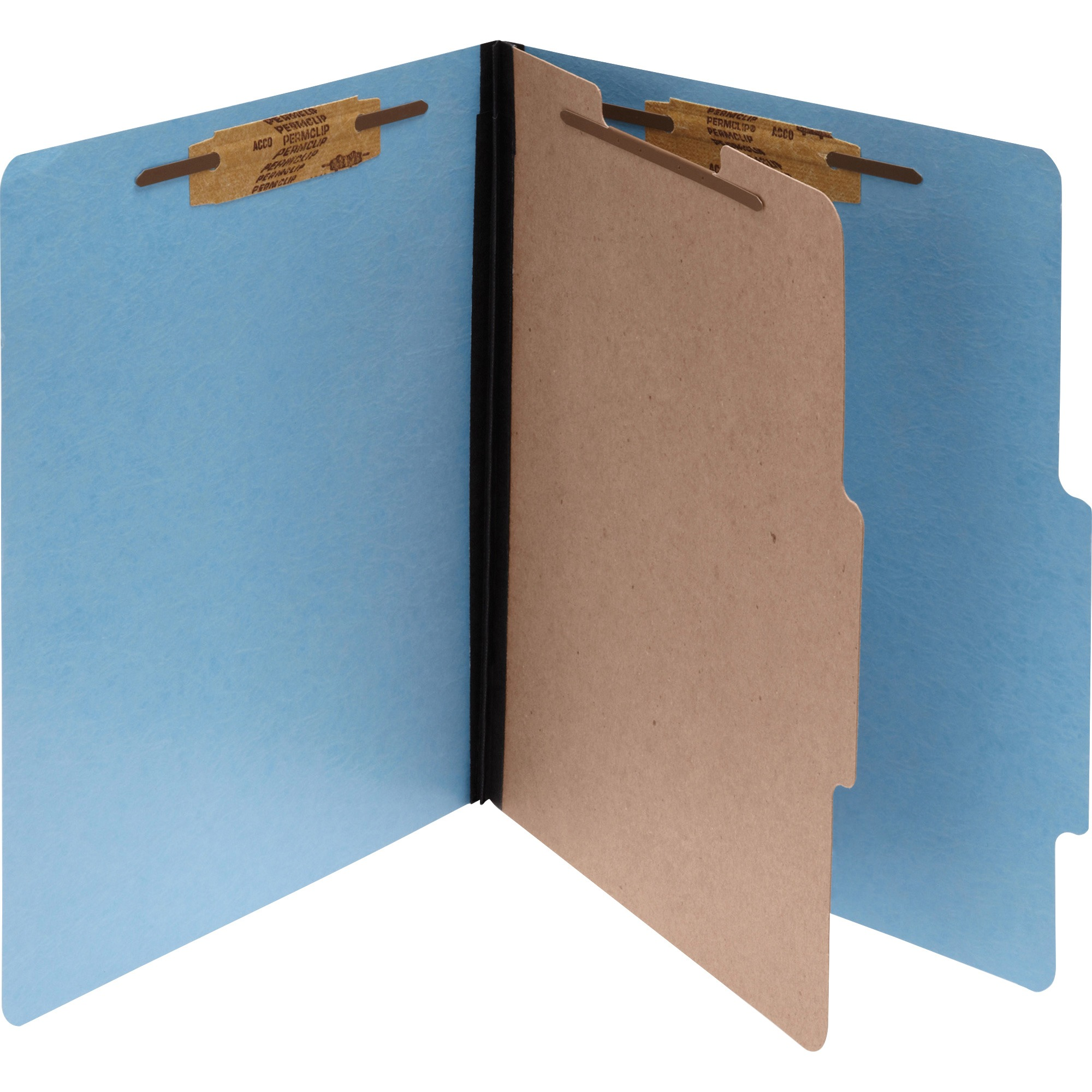 ColorLife PRESSTEX Classification Folders, Letter, 4-Section, Light Blue, 10/Box