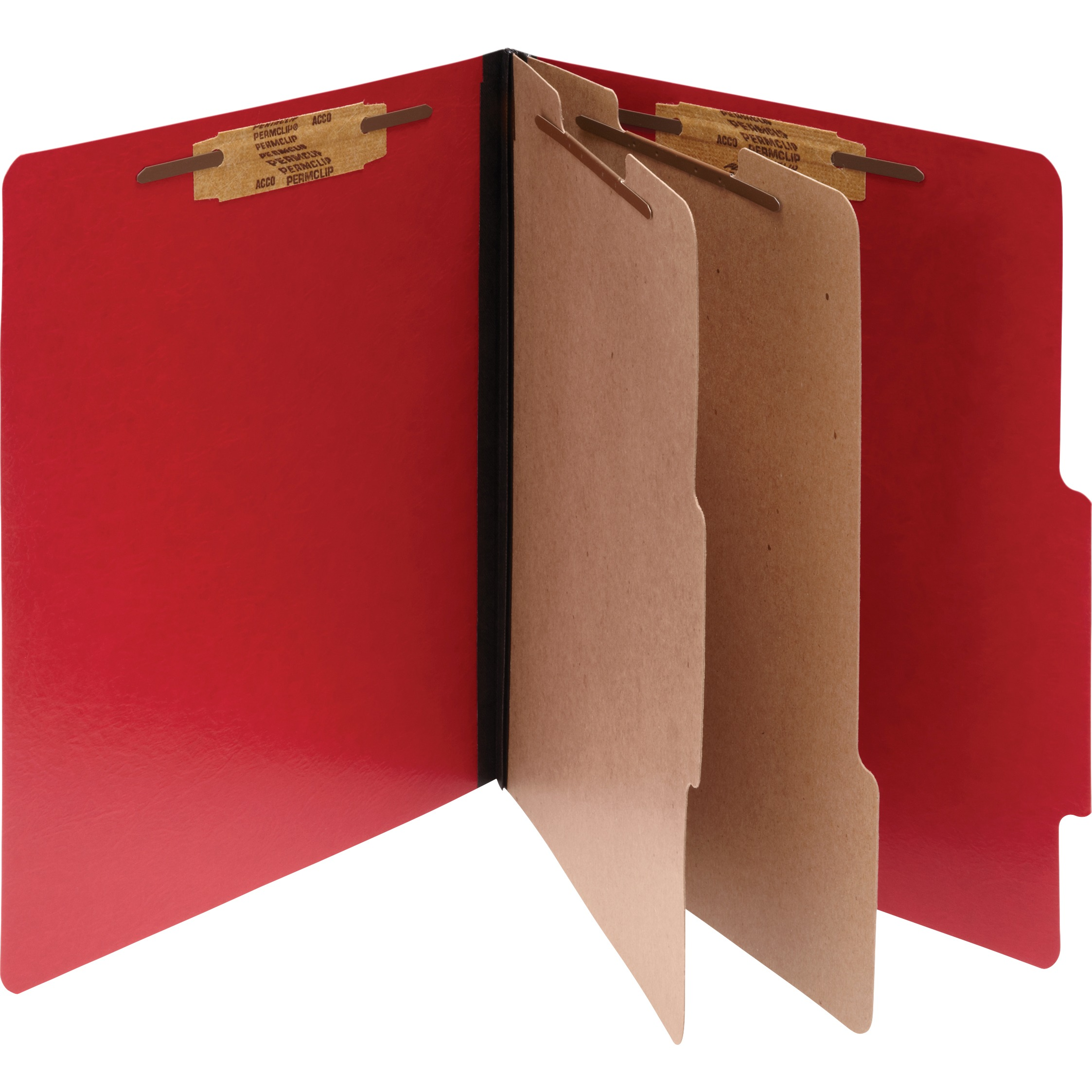 ColorLife PRESSTEX Classification Folders, Letter, 6-Section, Exec Red, 10/Box