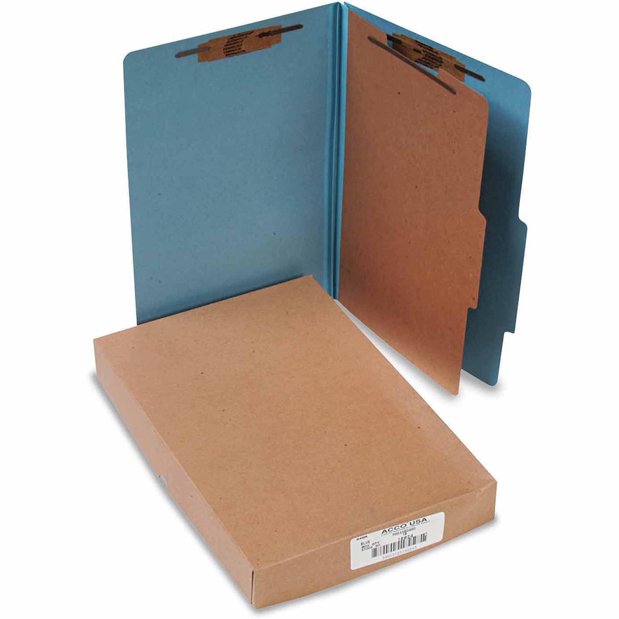 Pressboard 25-Pt Classification Folders, Legal, 4-Section, Sky Blue, 10/Box