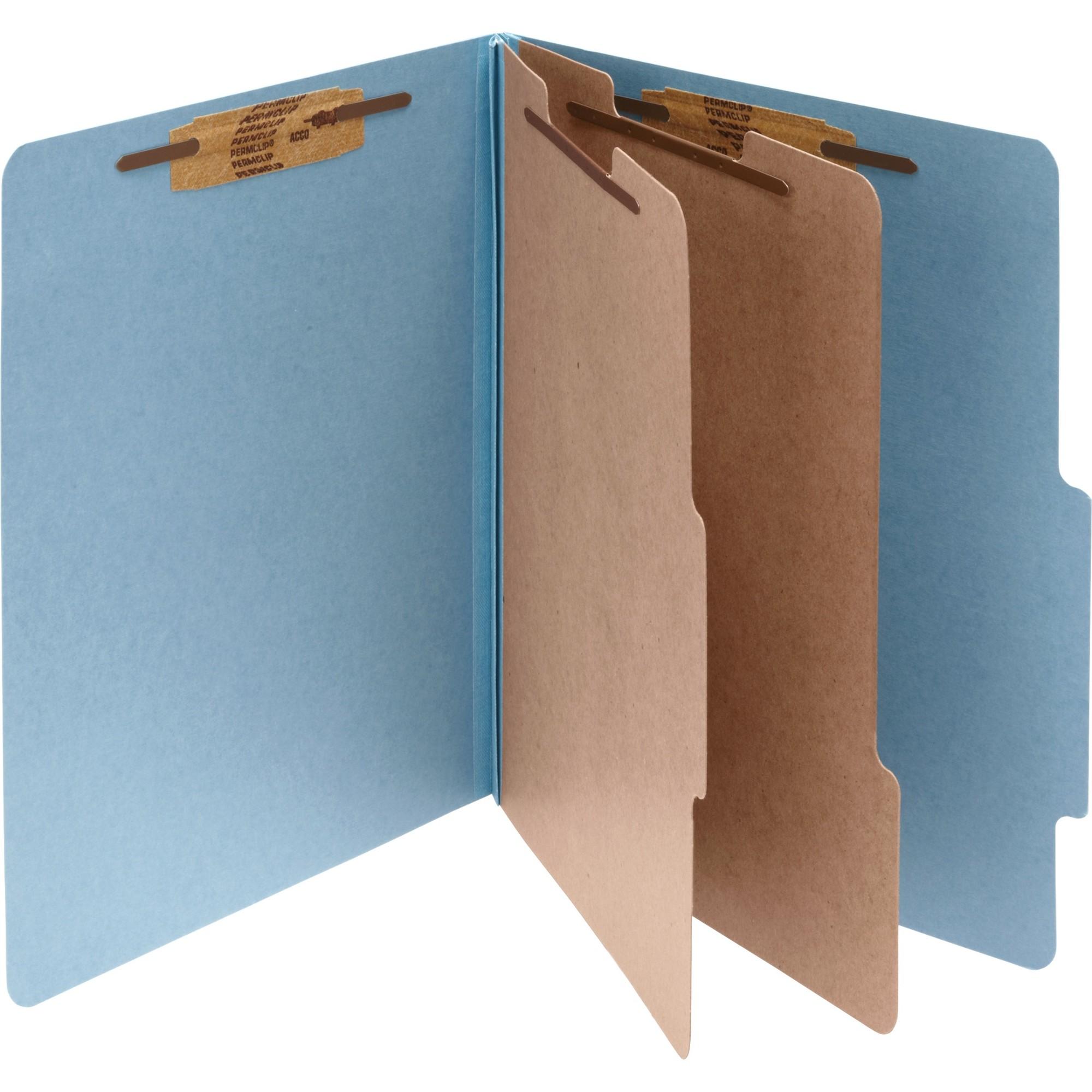 Pressboard 25-Pt Classification Folders, Legal, 6-Section, Sky Blue, 10/Box