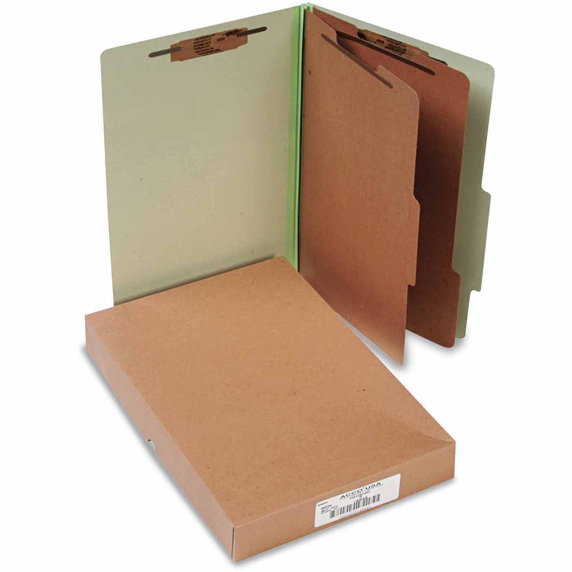 Pressboard 25-Pt Classification Folders, Legal, 6-Section, Leaf Green, 10/Box