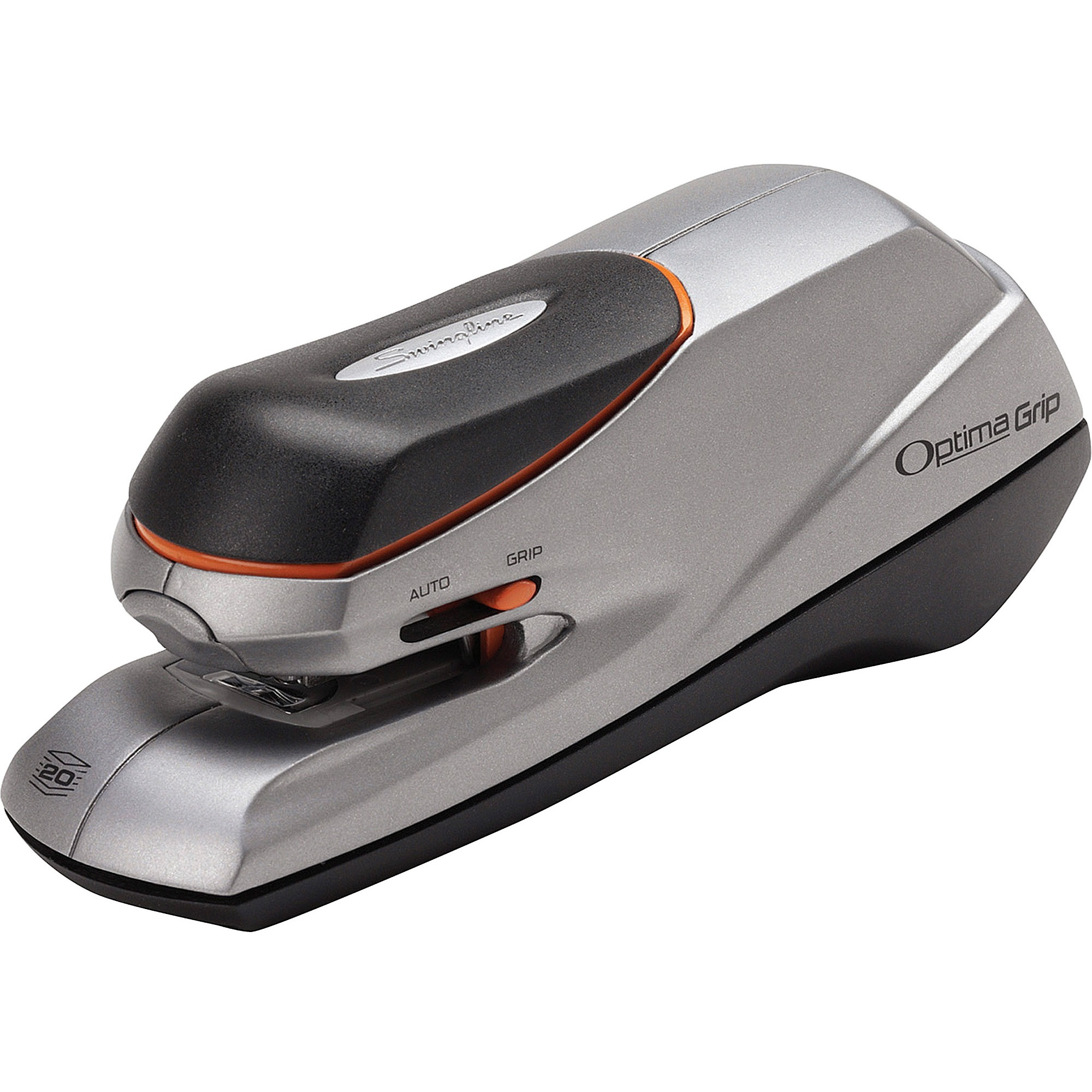Optima Grip Electric Stapler, Half Strip, Auto/Manual, 20 Sheets, Silver