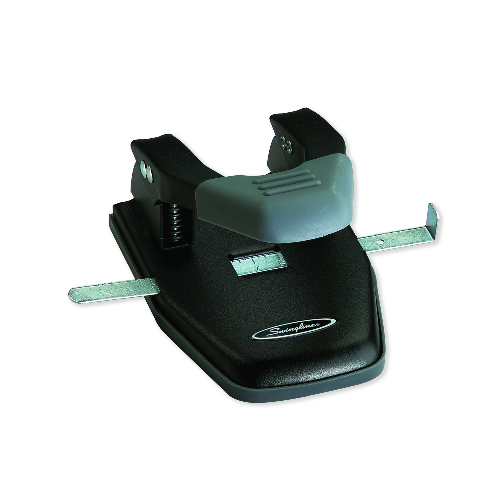 "28-Sheet Comfort Handle Steel Two-Hole Punch, 1/4"" Holes, Black/Gray"