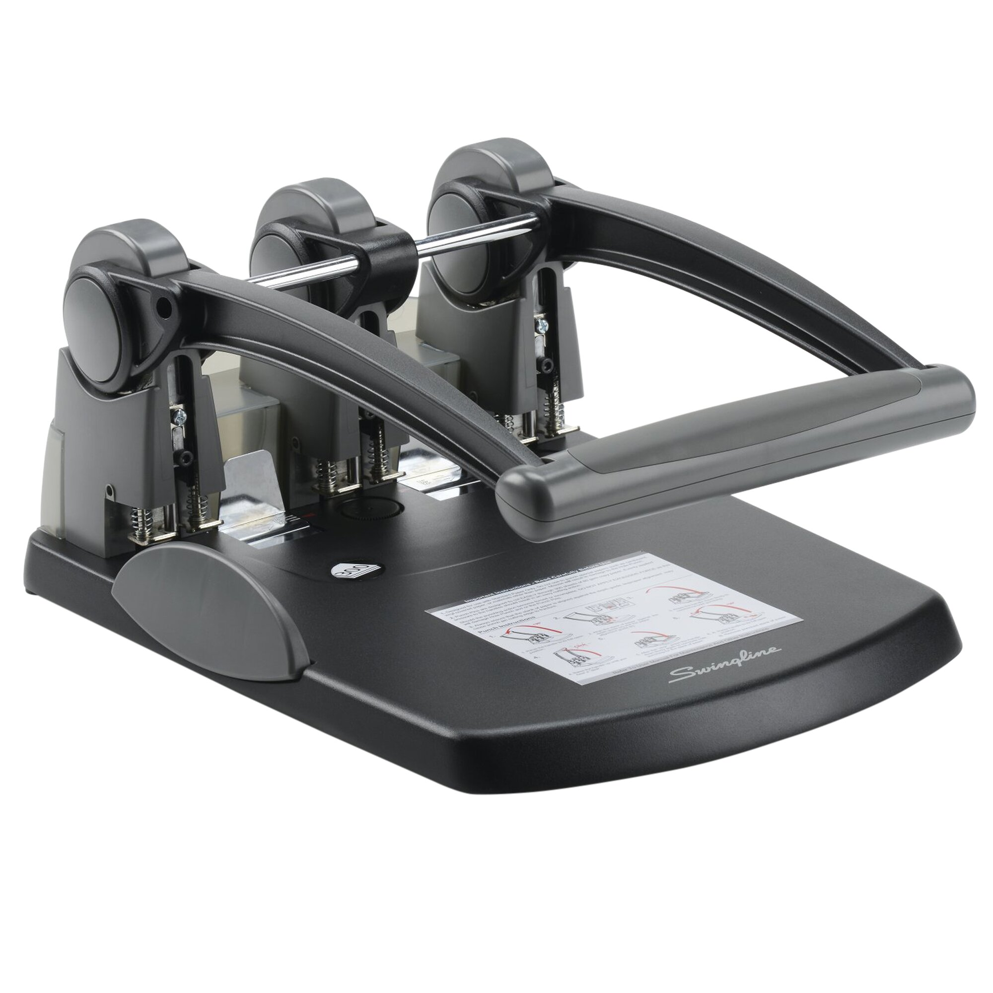 "300-Sheet Extra High-Capacity Three-Hole Punch, 9/32"" Holes, Black/Gray"