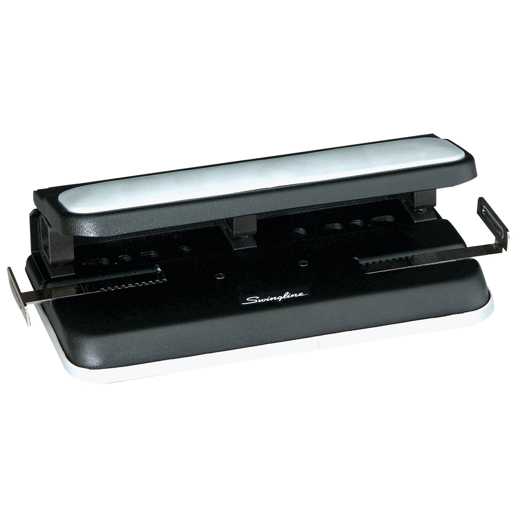 "32-Sheet Easy Touch Two-to-Seven-Hole Punch, 9/32"" Holes, Black/Gray"