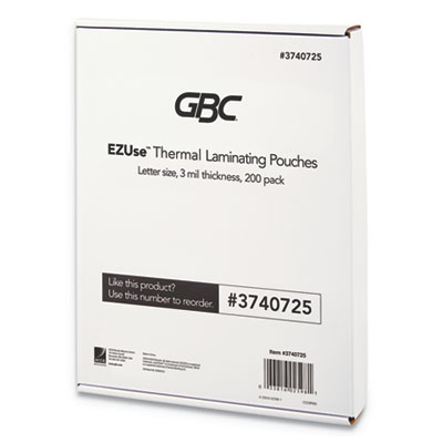 "EZUse Thermal Laminating Pouches, 3 mil, 8 1/2"" x 11"", Clear, Glossy, 200/Pack"