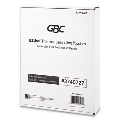 "EZUse Thermal Laminating Pouches, 5 mil, 8 1/2"" x 11"", Clear, Glossy, 200/Pack"