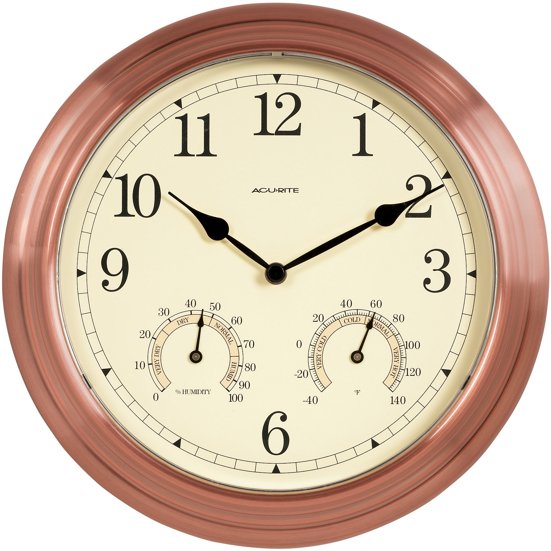 13 inch Copper Indoor Outdoor Clock with Thermometer and Humidity