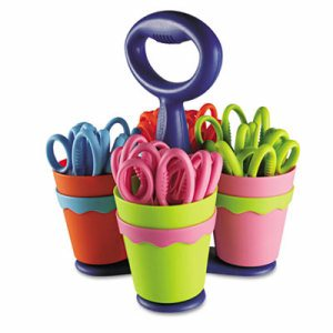 "School Scissors Caddy w/24 Pairs of Kids' Scissors w/Microban, 5"" Blunt"