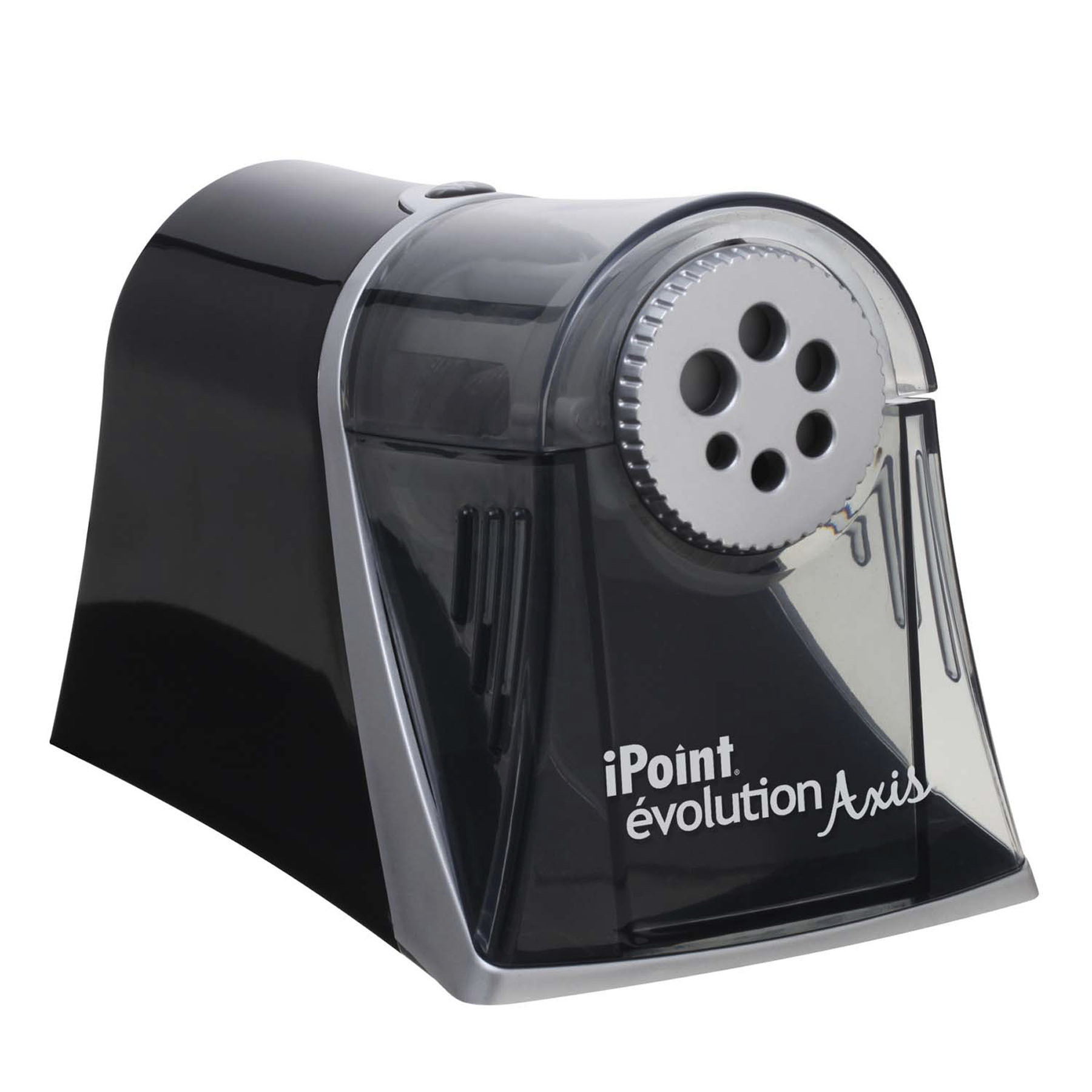Evolution Axis Pencil Sharpener, Black/Silver, 5w x 7 1/2 d x 7 1/4h