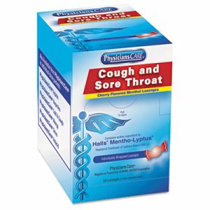 Cough and Sore Throat, Cherry Menthol Lozenges, 50 Individually Wrapped per Box