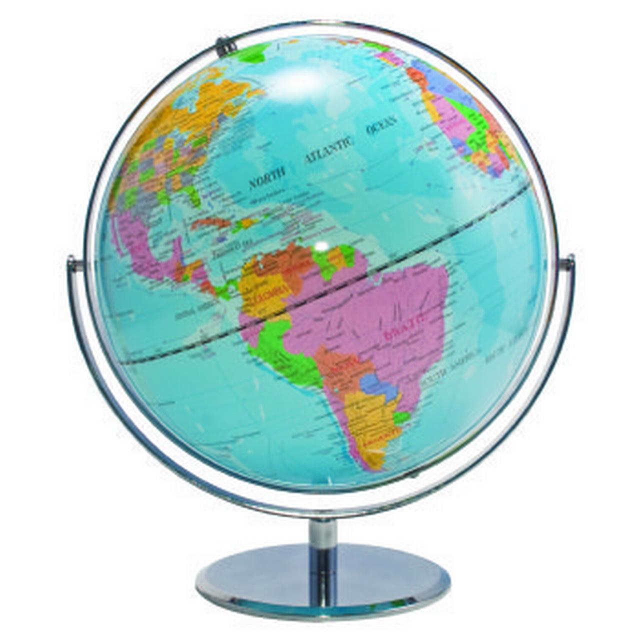 12-Inch Globe with Blue Oceans, Silver-Toned Metal Desktop Base,Full-Meridian