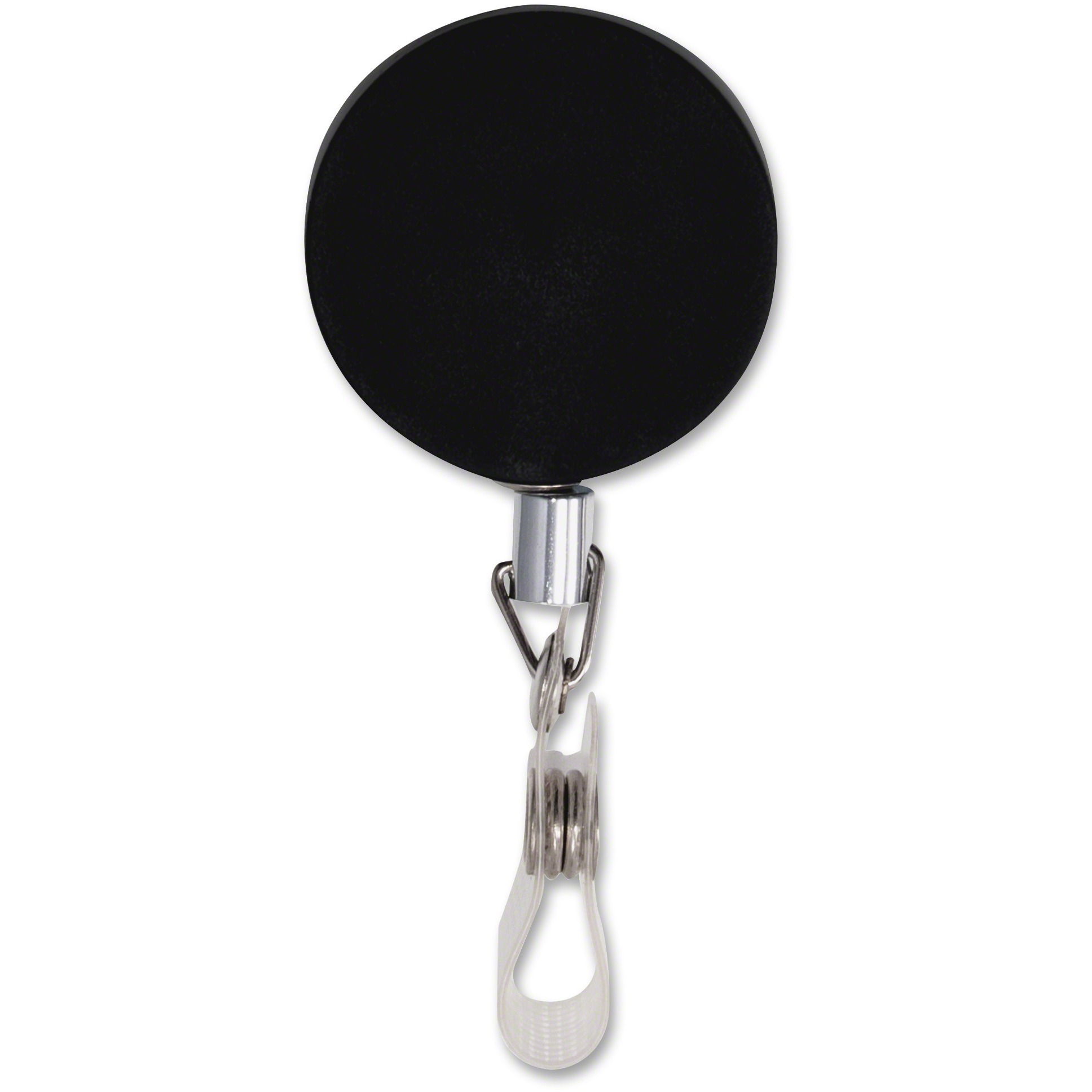 "Premier Heavy-Duty Retractable ID Card Reel, 24"" Extension, Black/Chrome, 12/Box"