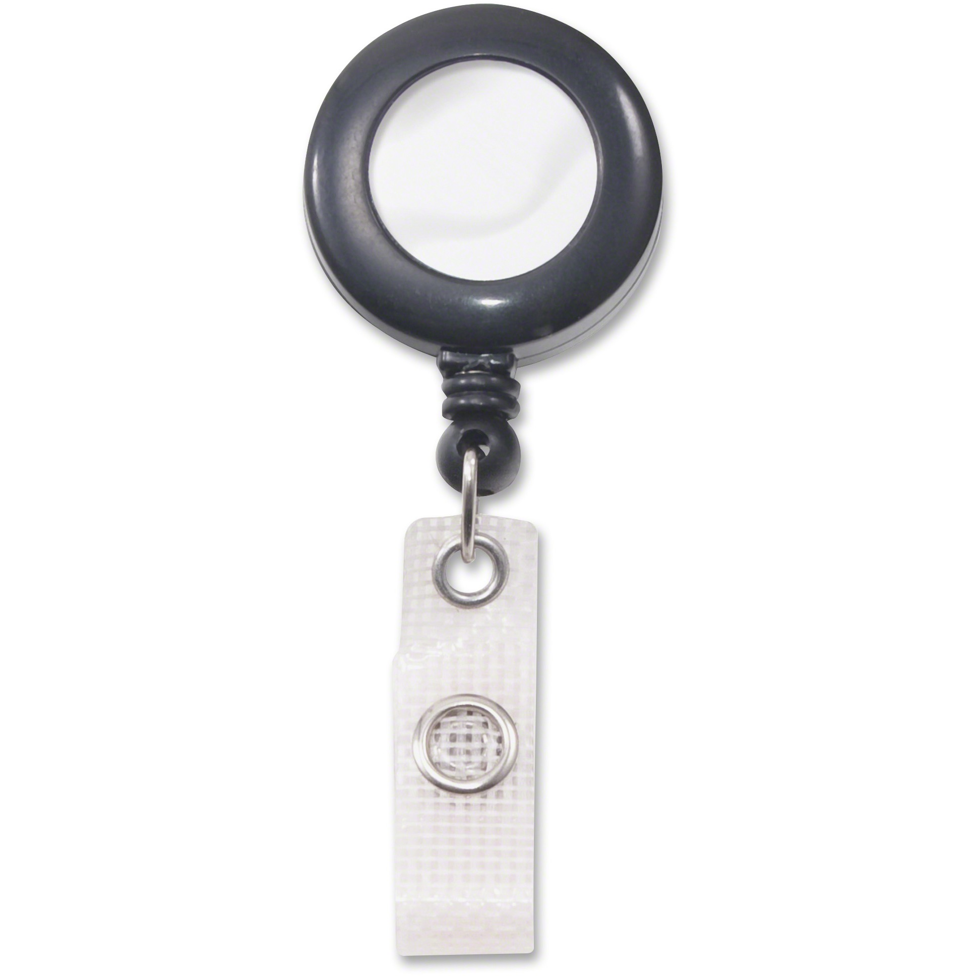 "Deluxe Retractable ID Reel with Badge Holder, 24"" Extension, Black, 12/Box"