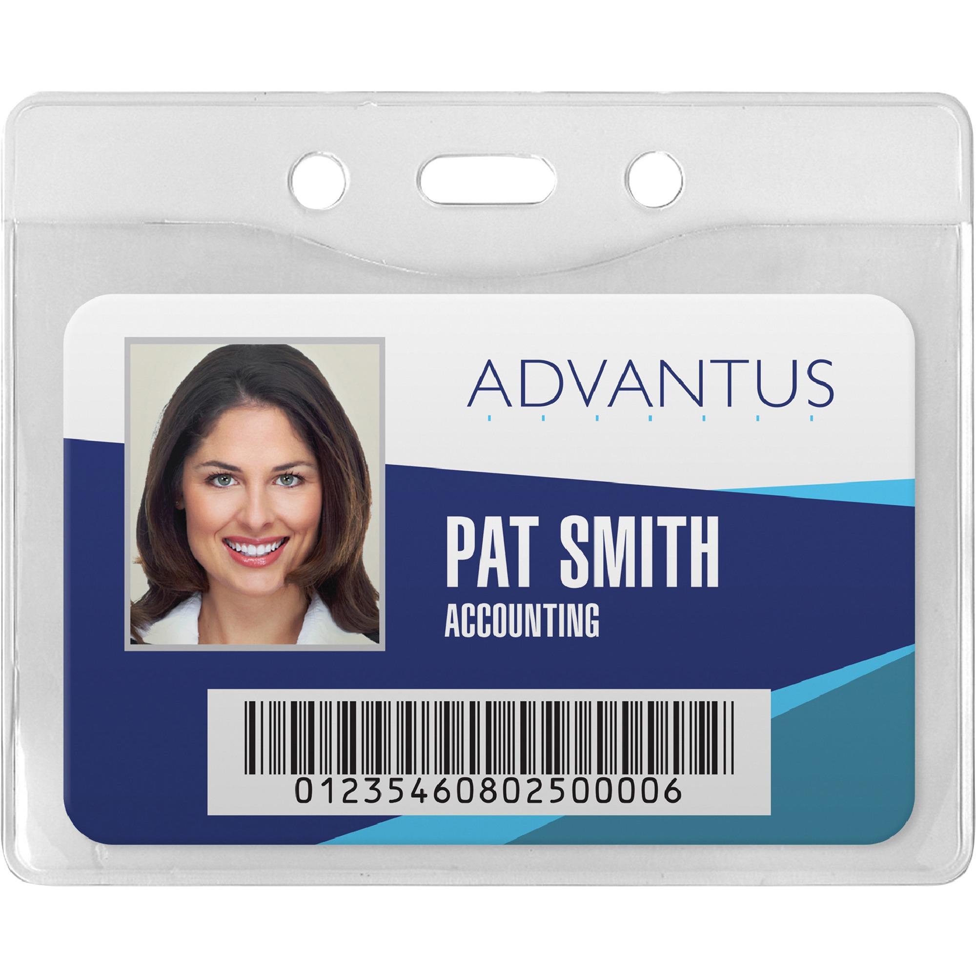 Security ID Badge Holder, Horizontal, 3 3/8w x 4 1/4h, Clear, 50/Box