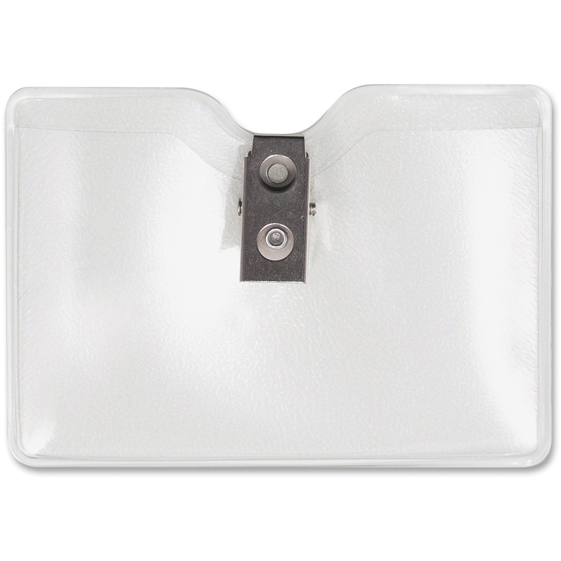 Security ID Badge Holder with Clip, Horizontal, 3 1/2w x 2 1/2h, Clear, 50/Box