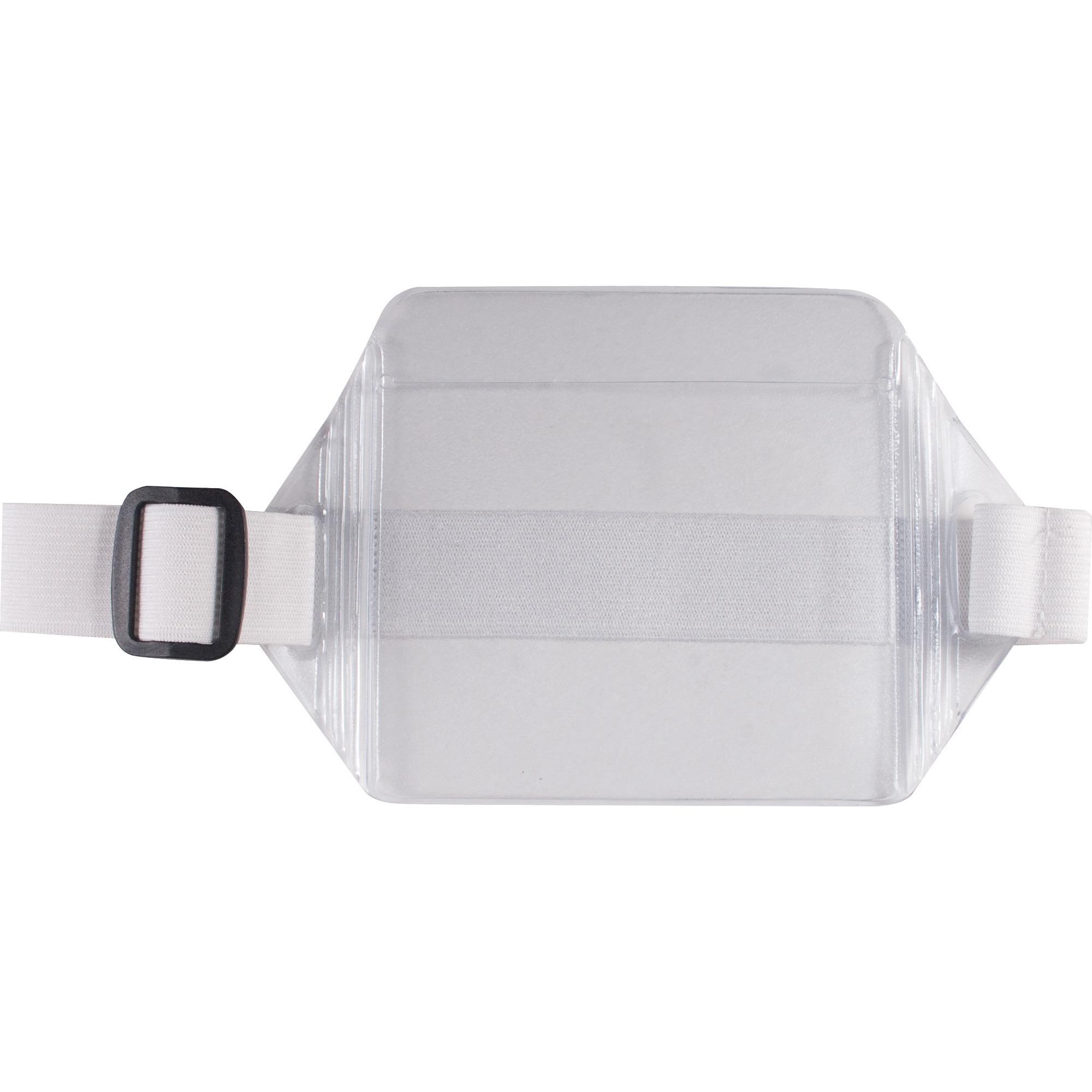 Horizontal Arm Badge Holder, 3 3/4 x 2 3/4, Clear/White. 12 per Box