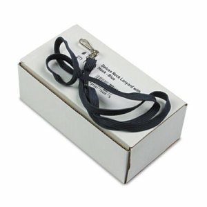 """Deluxe Lanyards, J-Hook Style, 36"""" Long, Blue, 24/Box"""