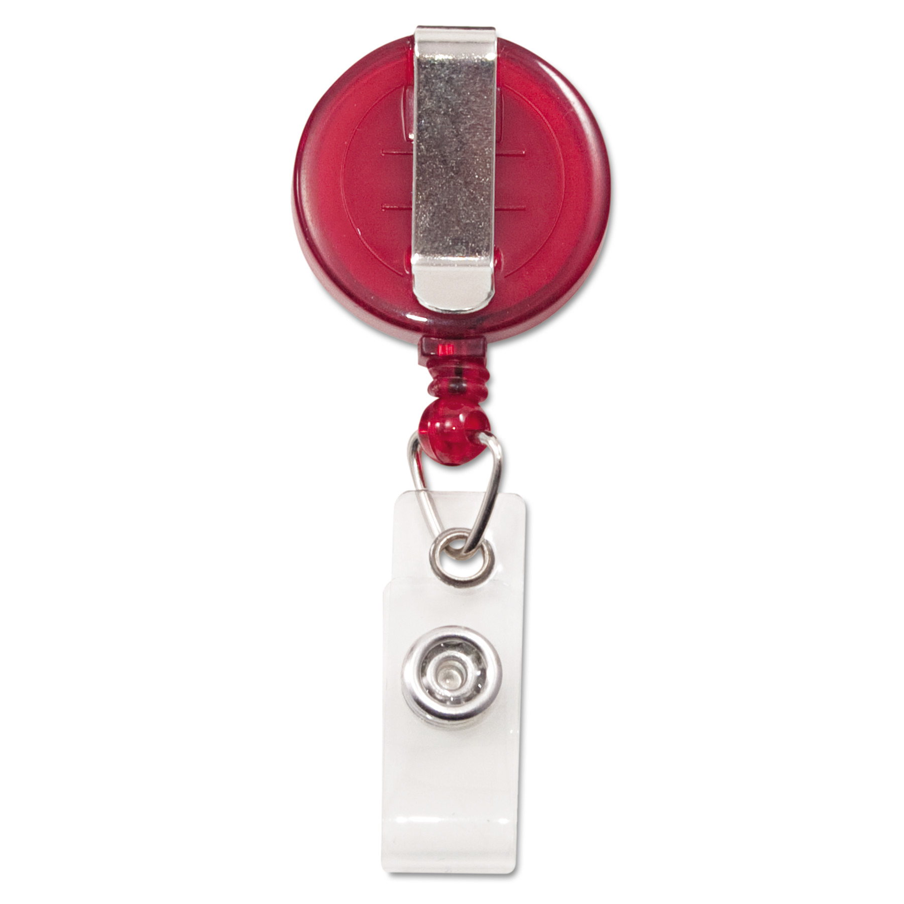 """Translucent Retractable ID Card Reel, 34"""" Extension, Red, 12/Pack"""