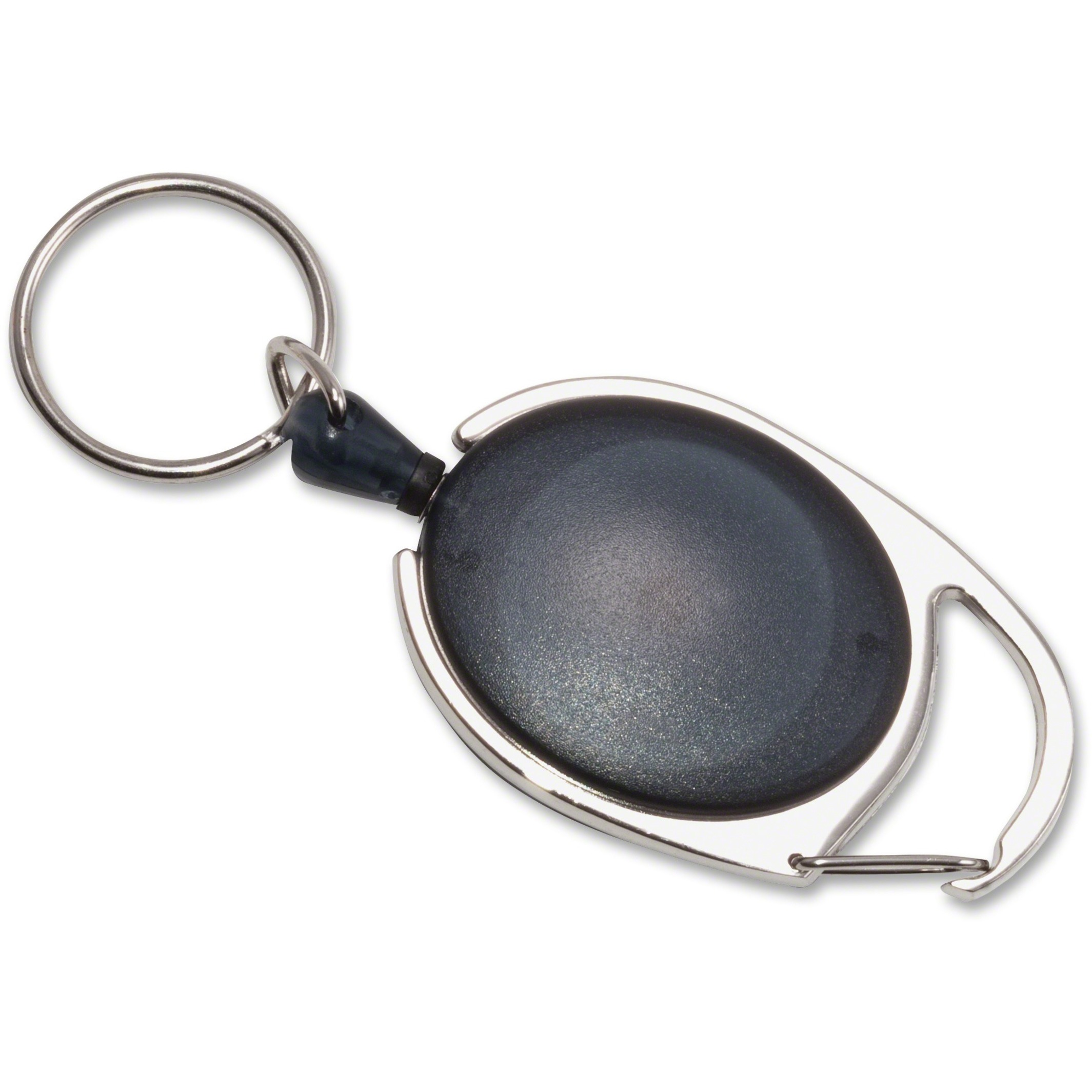 "Carabiner-Style Retractable ID Card Reel, 30"" Extension, Smoke, 6/Pack"