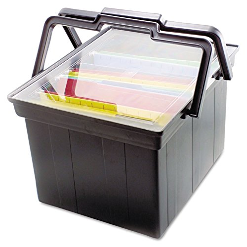 Companion Portable File Storage Box, Legal/Letter, Plastic, Black