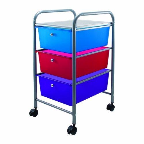 Portable Three-Drawer Organizer, 15-1/2 x 13 x 27, Gray/Multi-Colored Drawers