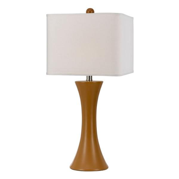 """26"""" Madison Ceramic Table Lamp with White Hardback Shade, Orange"""