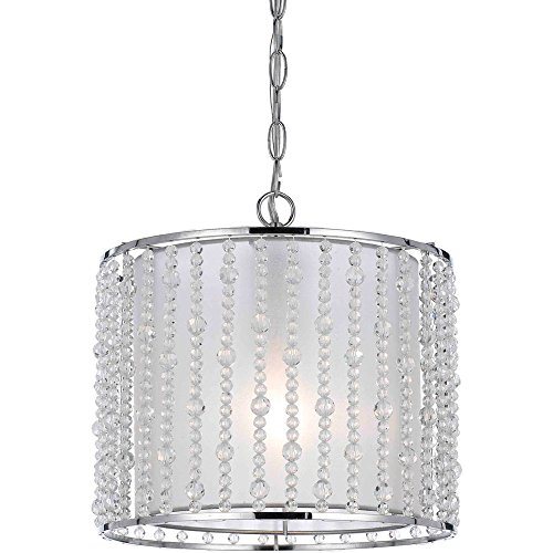 Bijou 1 Light Pendant with Sheer Inner Shade and Clear Plastic Beads