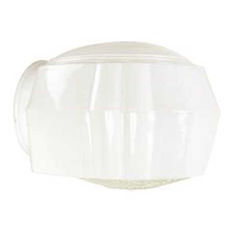 WALL FIXTURE REPLACEMENT GLASS, WHITE WITH CLEAR PRISMATIC BOTTOM, 3-1/4 IN. FITTER,