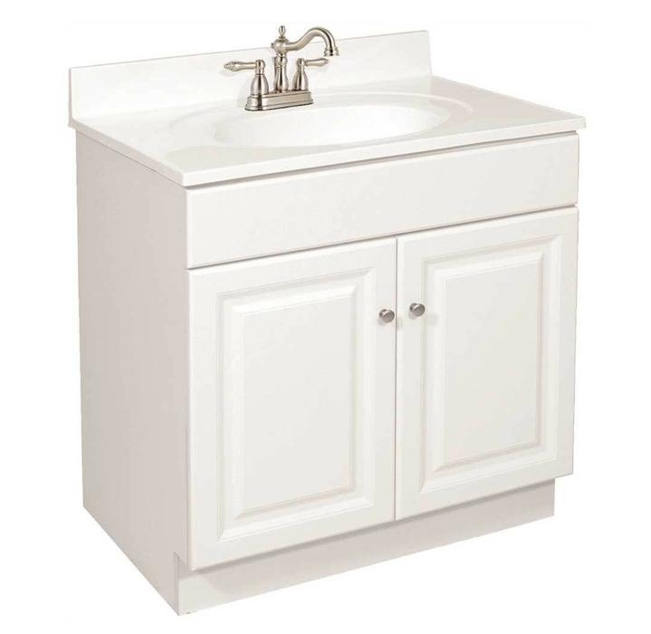 DESIGN HOUSE� WYNDHAM BATHROOM VANITY CABINET, READY TO ASSEMBLE, 2 DOOR, WHITE, 24X31-1/2X18-1/2 IN.