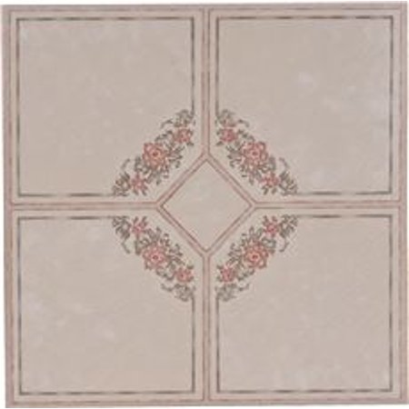 FLOOR TILE NO WAX SELF STICK 12 IN. X 12 IN. FLORAL ROSE/GRAY