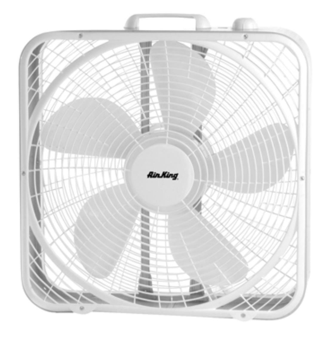 "20"" 3-Speed Non-Oscillating Box Fan, White"
