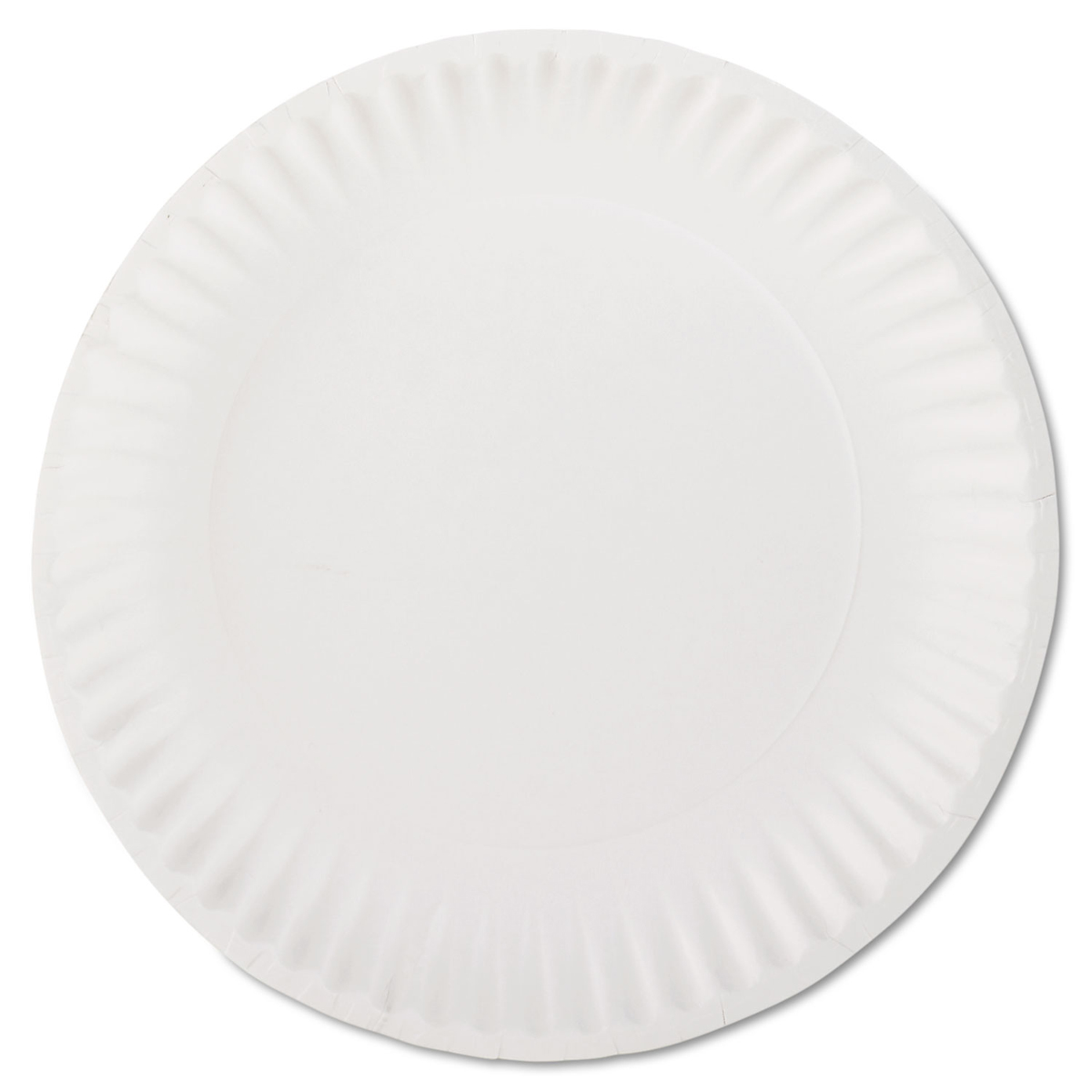 "White Paper Plates, 9"" Diameter, 100/Bag, 10 Bags/Carton"